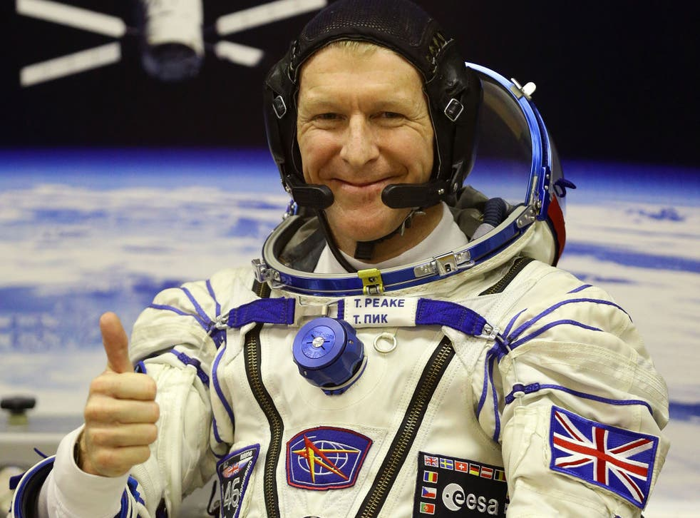 British astronaut Tim Peake at the Baikonur Cosmodrome in Kazakhstan, ahead of his launch to the International Space Station.
