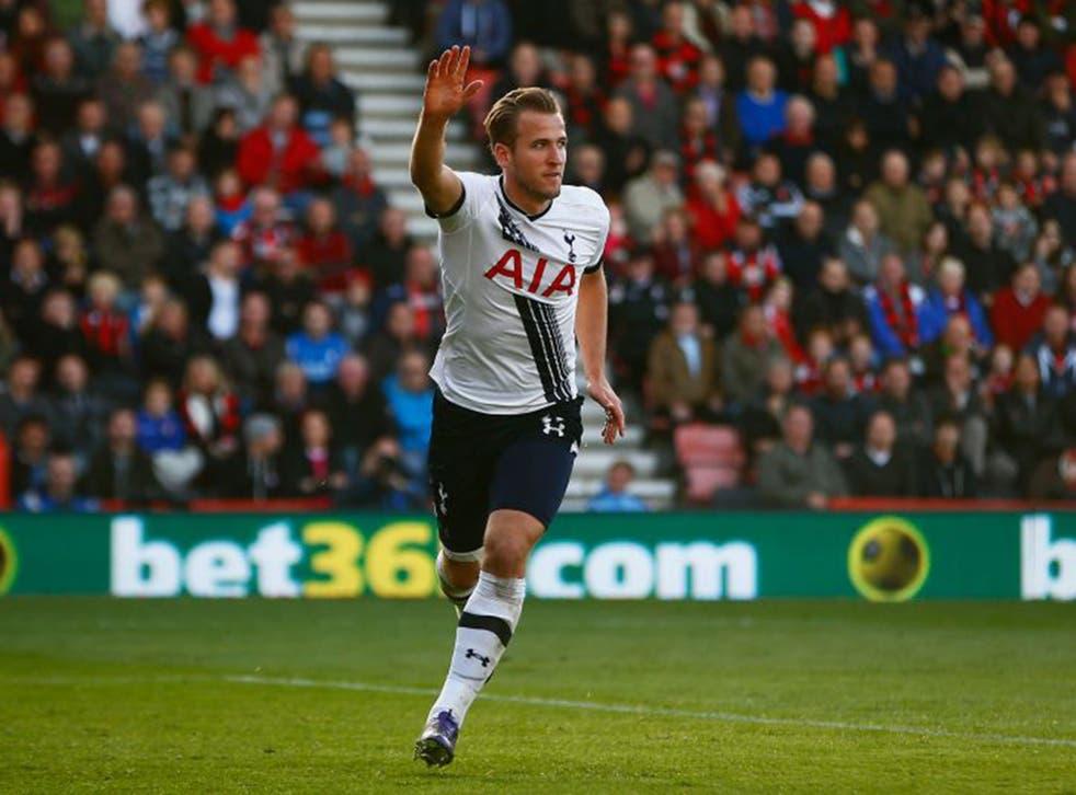 Harry Kane celebrates scoring another goal for Tottenham