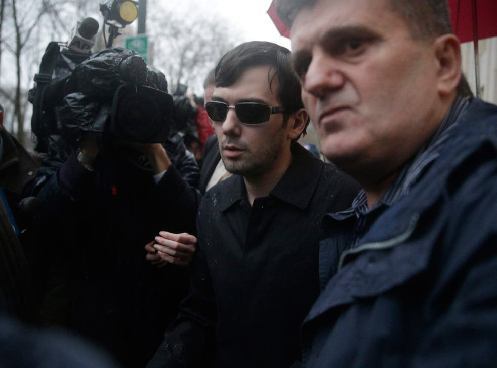 Martin Shkreli leaves court in New York on Thursday after hearing his fraud charges