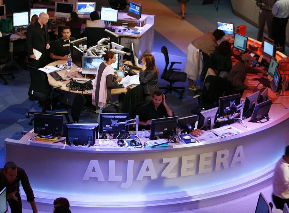 The newsroom at the headquarters of the Qatar-based Al-Jazeera satellite channel in Doha