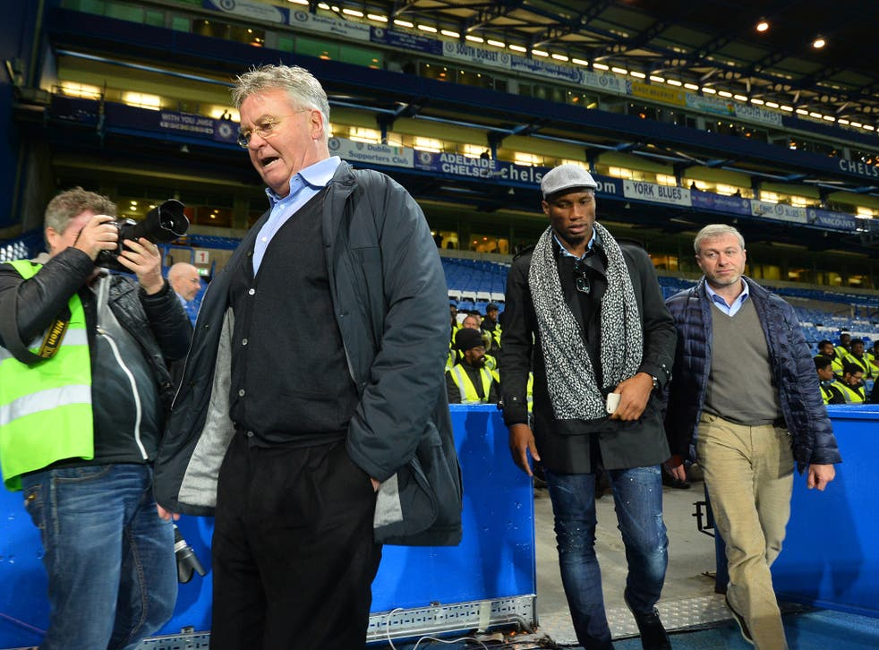 Guus Hiddink, Didier Drogba and Roman Abramovich took a tour of the pitch after the win