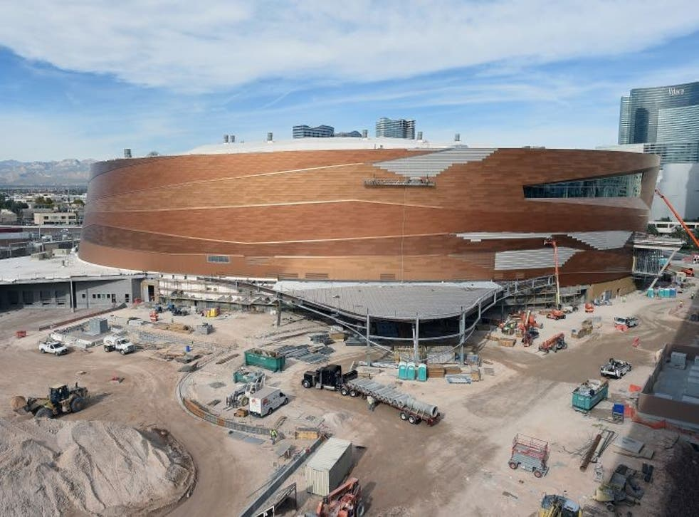 Construction continues on the Las Vegas Arena. The $375m, 20,000-seat sports and entertainment venue is being built by MGM Resorts International and AEG