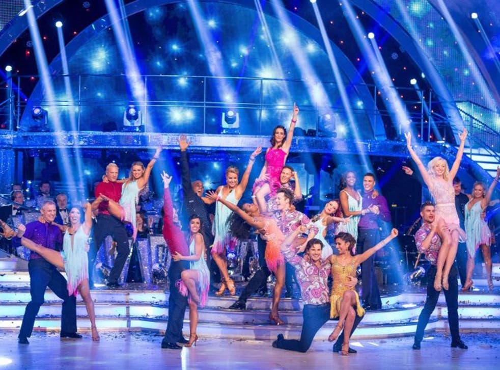 Contestants and professional dancers during an edition of Strictly Come Dancing.