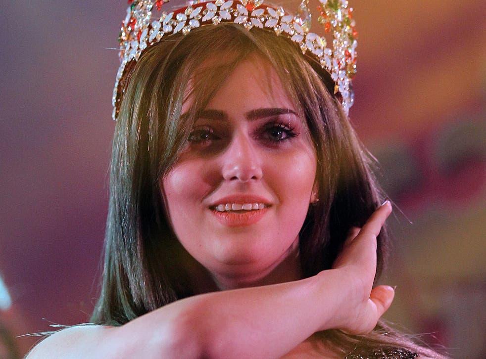 Iraqi Shaymaa Qasim Abdelrahman from Kirkuk poses for a photo after winning the Miss Iraq