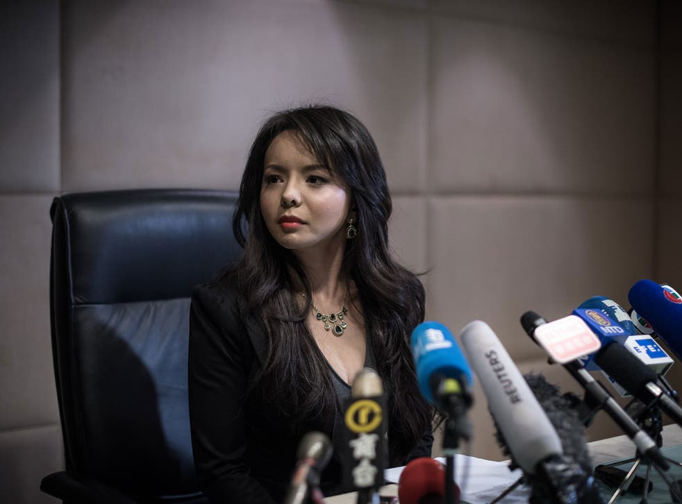 Chineseborn actress and Miss Canada winner Anastasia Lin speaks to the media in Hong Kong after authorities blocked her from travelling to mainland China