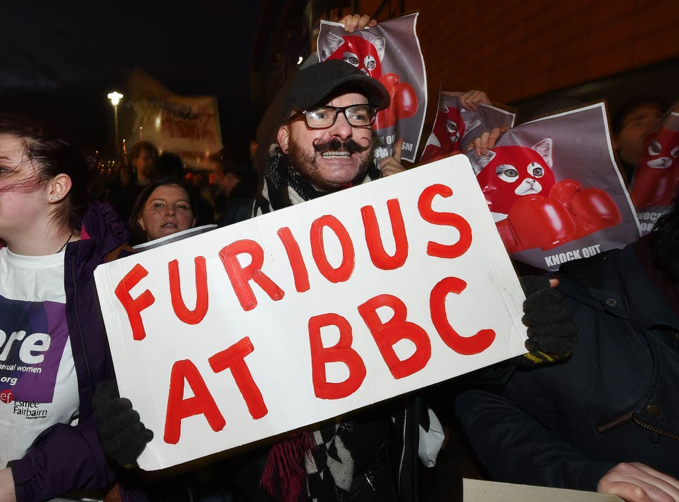 LGBT supporters protest in Belfast after Tyson Fury's inclusion on the list of nominees for the BBC Sports Personality of the Year