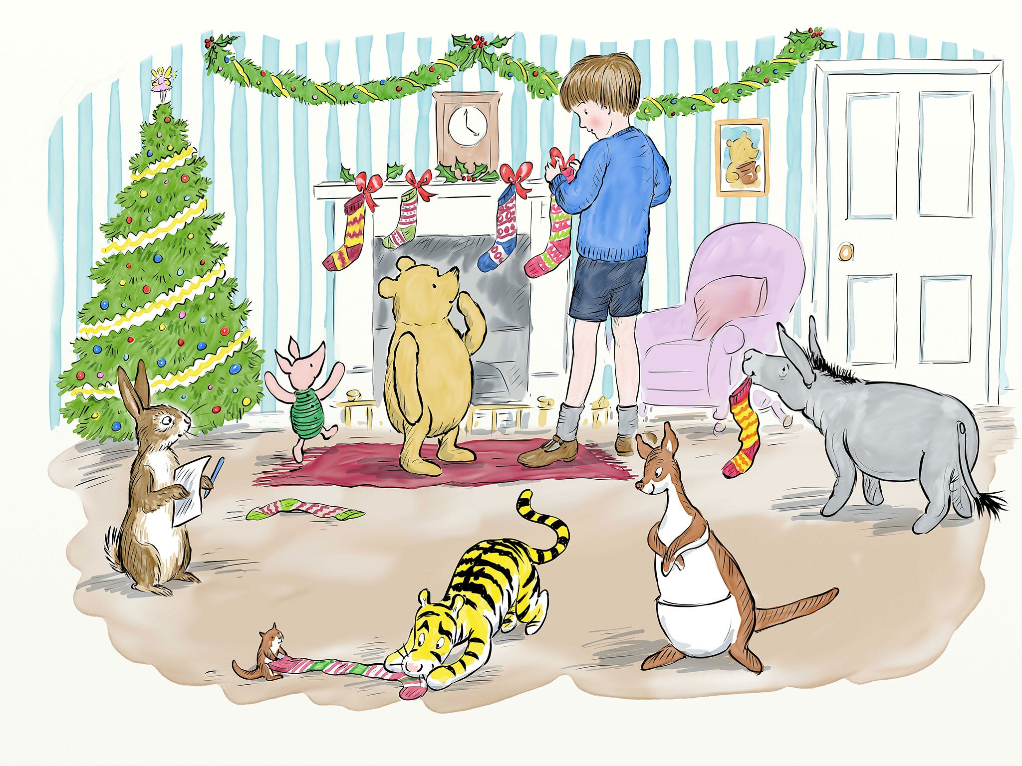 Christmas Illustration.New Winnie The Pooh Illustrations Celebrate Christmas