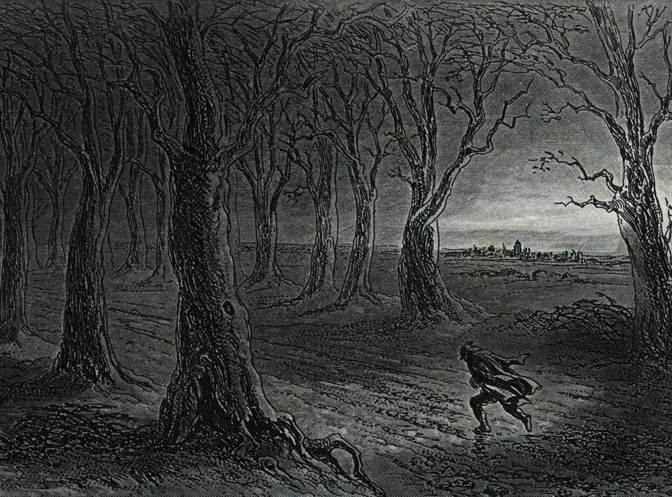 Dark deeds: in Dickens's work, as this illustration from 'Little Dorritt' shows, winter nights are a time for skulduggery