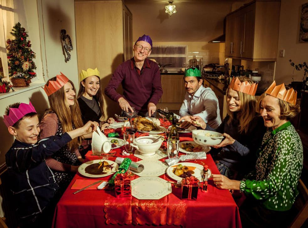 The time-travelling Robshaw family enjoy a Nineties dinner in the BBC 2 show 'Back in Time for Christmas'