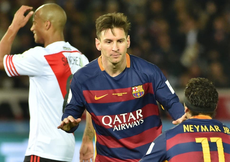 Lionel Messi Celebrates Opening The Scoring In The Club World Cup Final Against River Plate