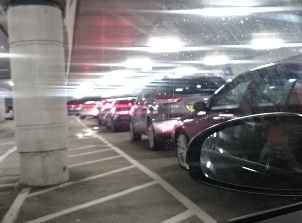 Traffic queue in the carpark at Bluewater Shopping Centre
