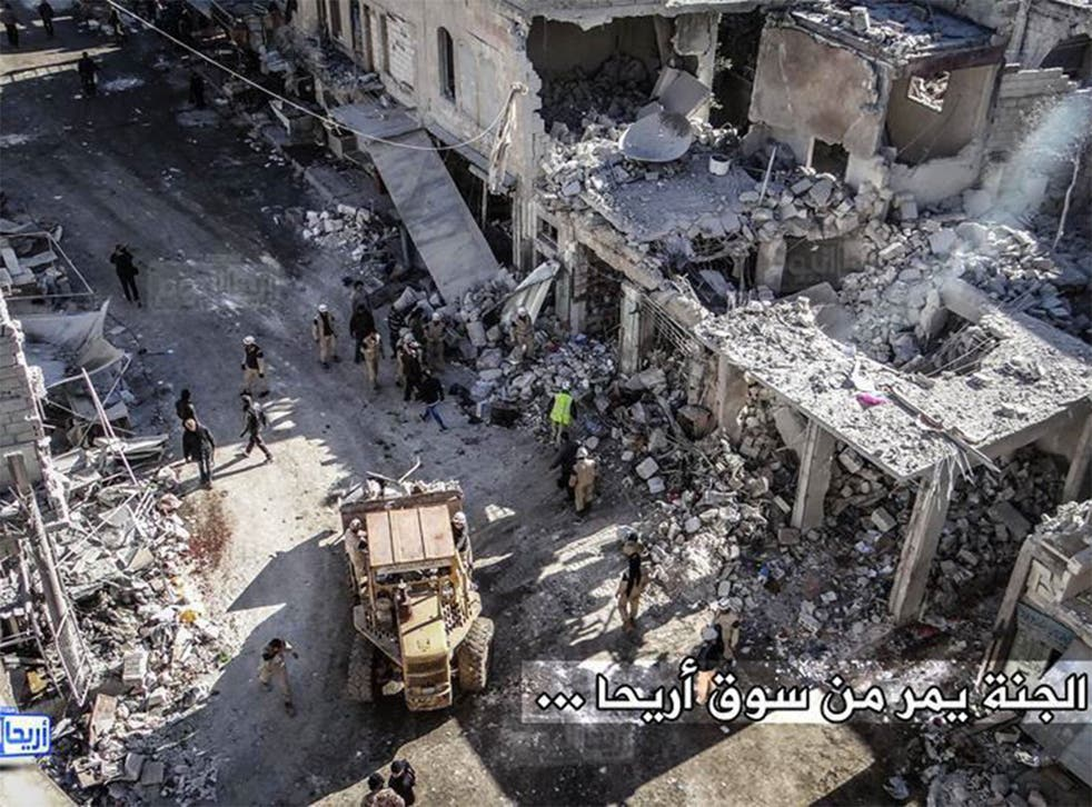 Image featured in Amnesty's Syria report showing damage to Ariha market from a suspected Russian air strike on 29 November 2015