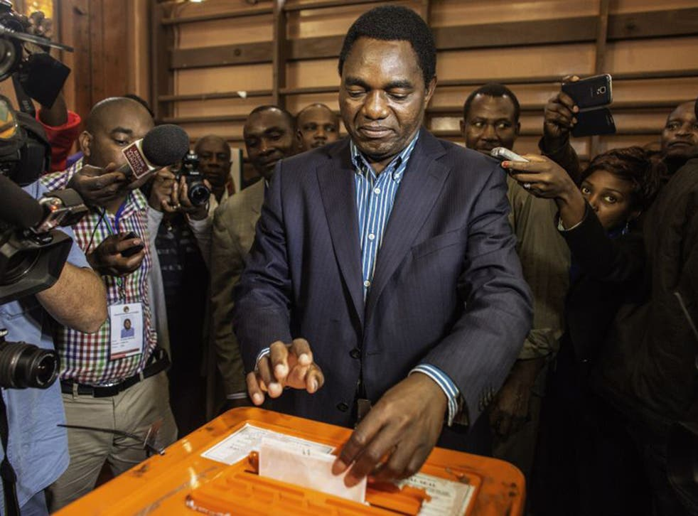 Opposition candidate Hakainde Hichilema, of the United Party for National Development (UPND) party, casts his ballot on January 20, 2015 in Lusaka.