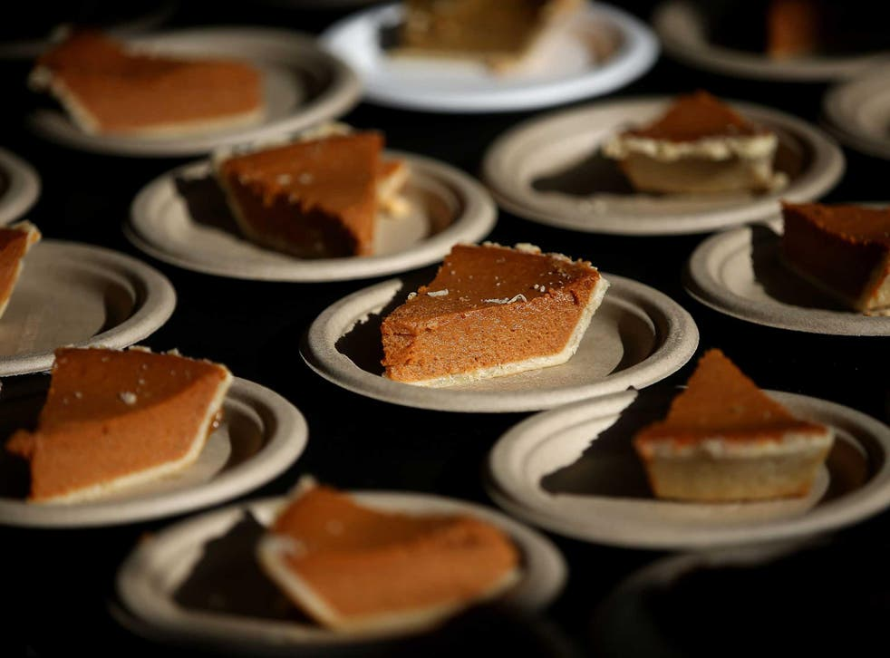 Slices of pie are seen at a banquet in California