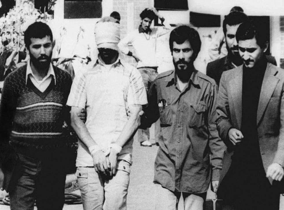 One US hostage displayed outside the US embassy in Tehran in 1979