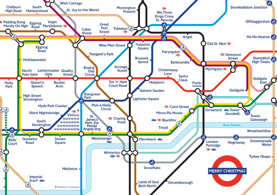 Map Of London With Underground.Pick A Holly Circus London Underground Map Given Christmas Makeover