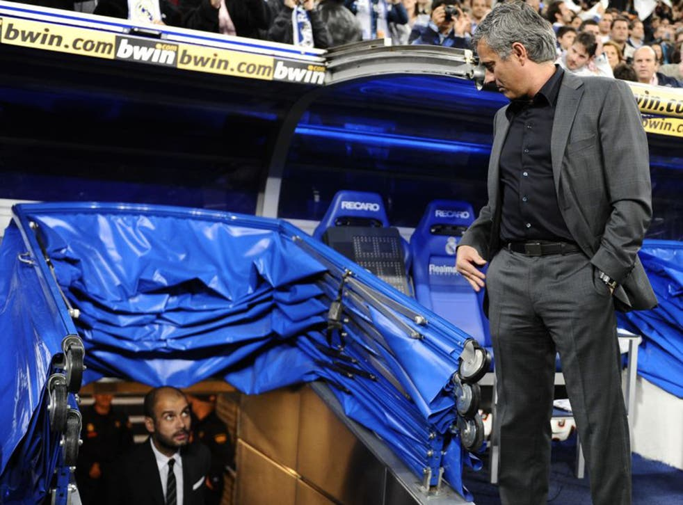 Jose Mourinho, right, and Pep Guardiola before El Clasico in 2011, during their times as Real Madrid and Barcelona coach respectively