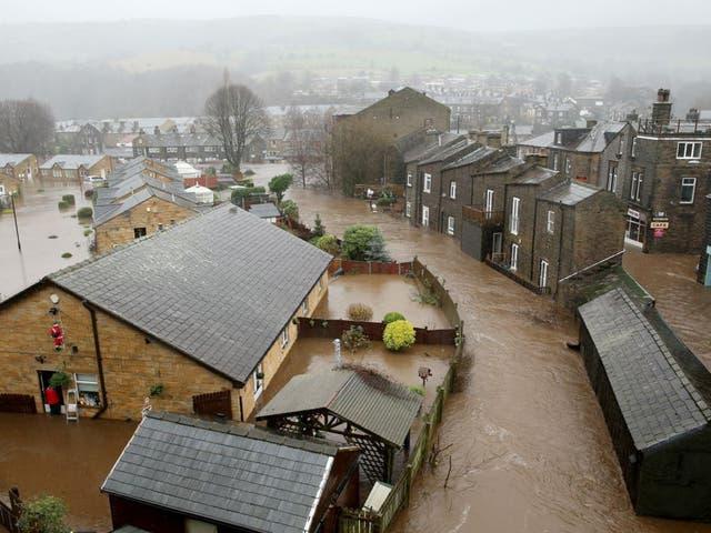 In Mytholmroyd, West Yorkshire, the River Calder burst its banks