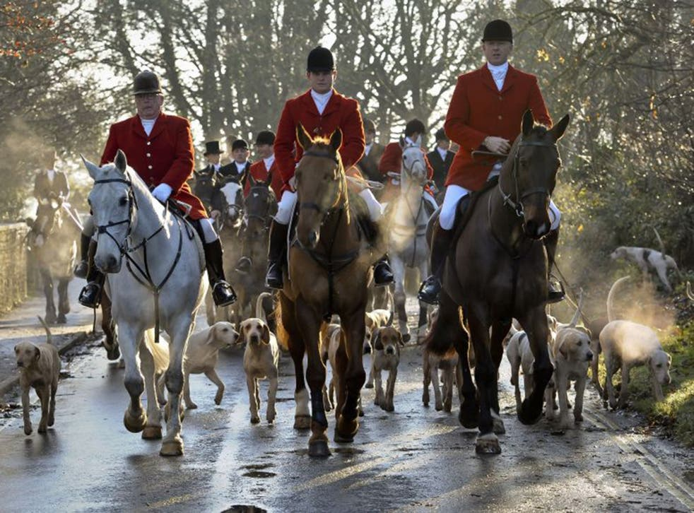 Avon Vale hunt making its way to the village of Laycock, Wiltshire. The practice of hunting with dogs could be legalised once again under a new Conservative government