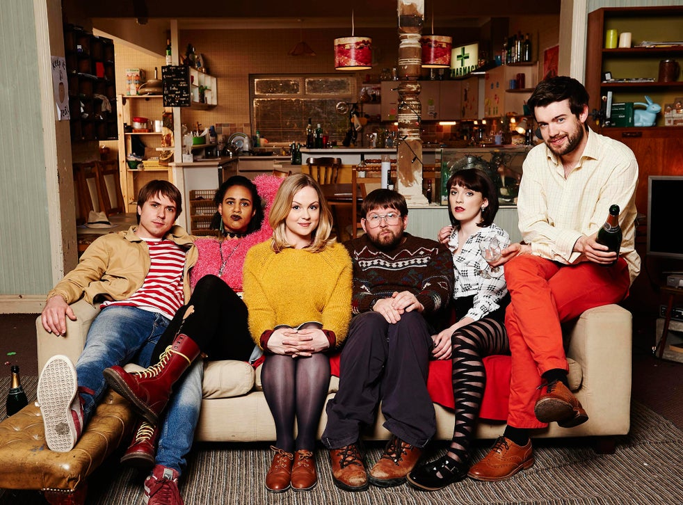 The cast of 'Fresh Meat' from left: Joe Thomas as Kingsley, Zawe Ashton as Vod, Kimberley Nixon as Josie, Greg McHugh as Howard, Ritchie as Oregon and Jack Whitehall as JP