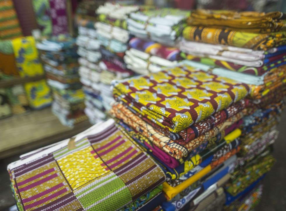 Fabrics on sale at the Makola market in central Accra