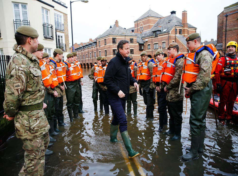 David Cameron visits soldiers working on flood relief in York city centre