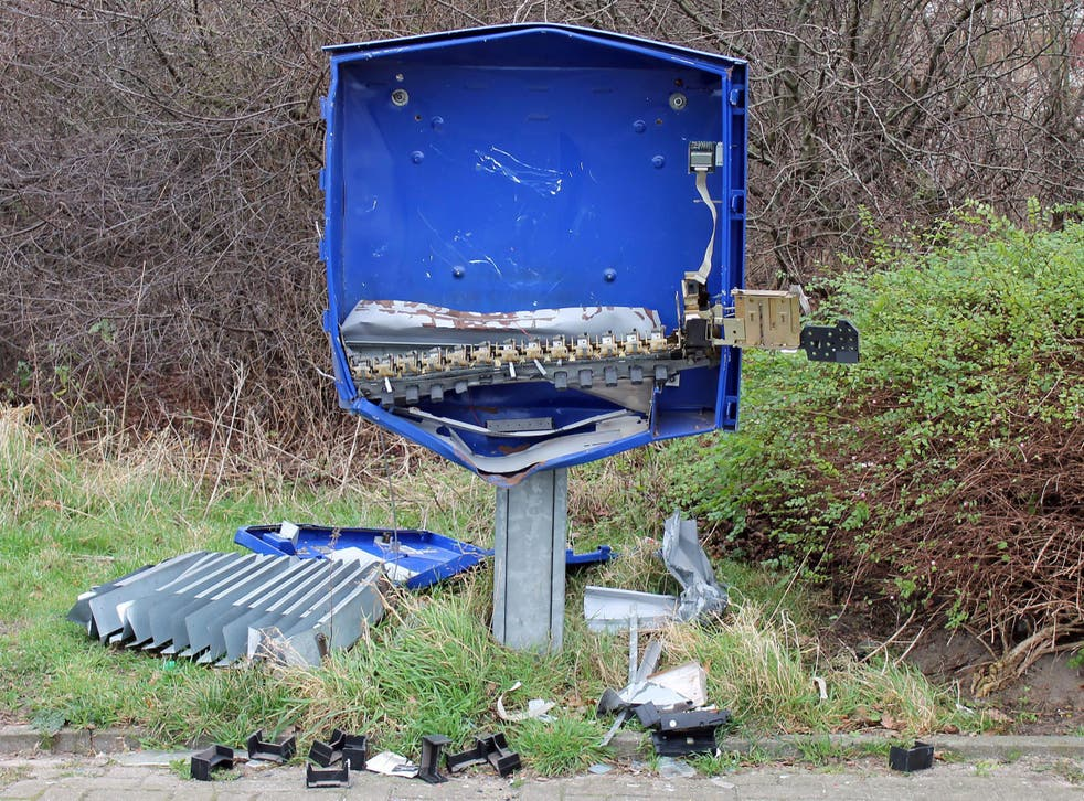 The remains of a condom dispenser after an explosion in Schoeppingen, Germany