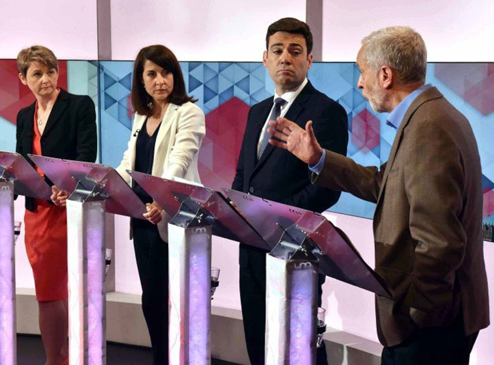 Yvette Cooper, Liz Kendall, Andy Burnham and Jeremy Corbyn in the Labour leadership debate in July