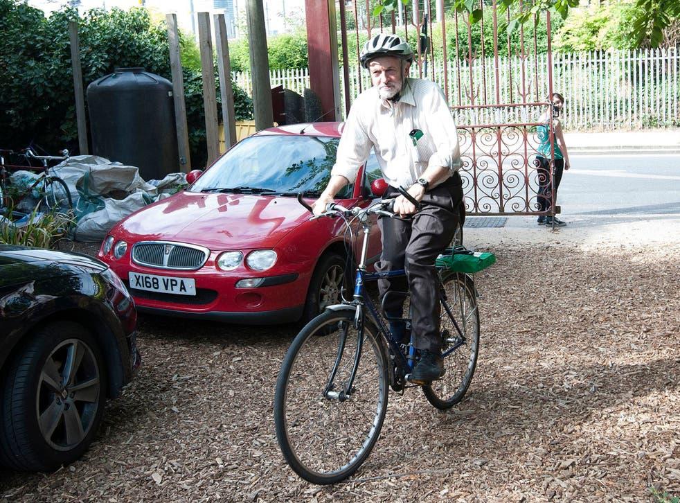 Jeremy Corbyn riding his bike around London
