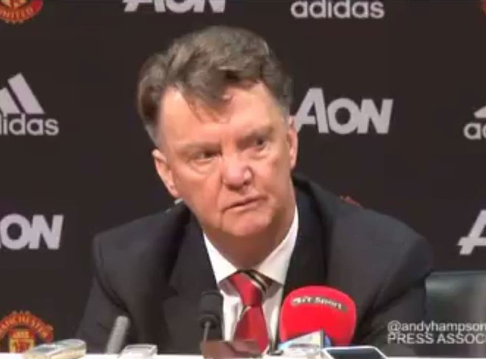 Manchester United manager Louis van Gaal during his post-match press conference on Monday