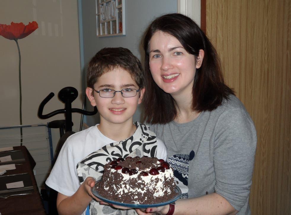 Thirteen-year-old Matthew Thompson with mother Carol