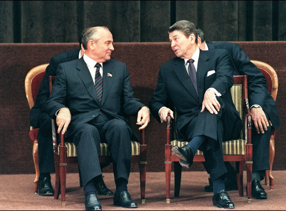Ronald Reagan shown talkng to Soviet President Mikhail Gorbachev during a two-day summit between the superpowers in Geneva in 1985