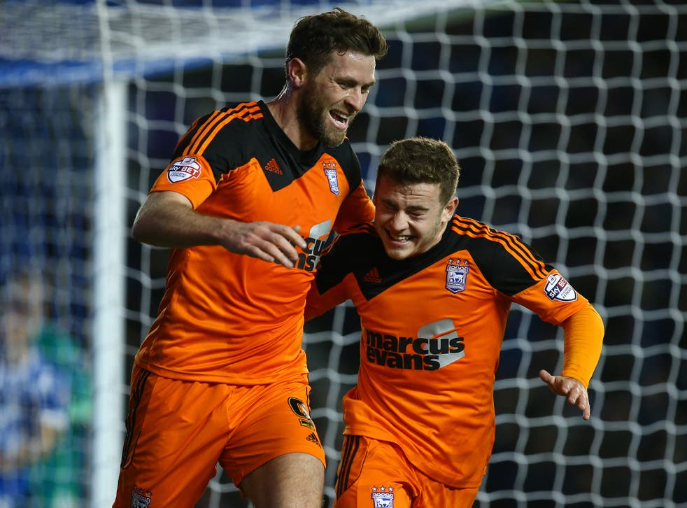 Ipswich's Daryl Murphy (left) celebrates with Ryan Fraser after scoring the only goal of the match last night