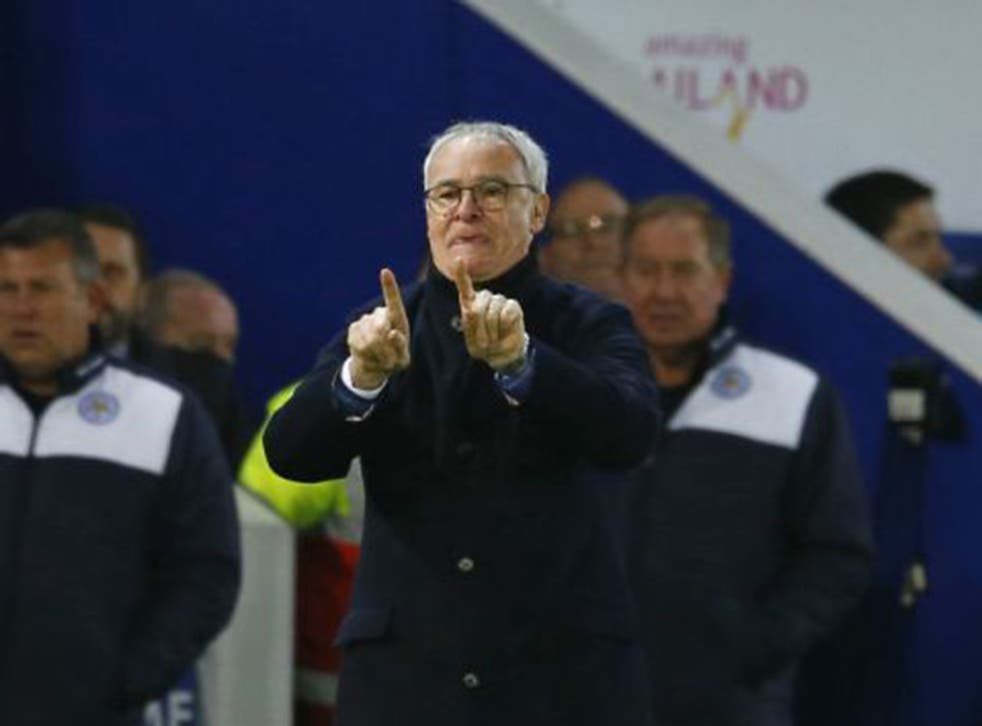 Leicester manager Claudio Ranieri gives instructions