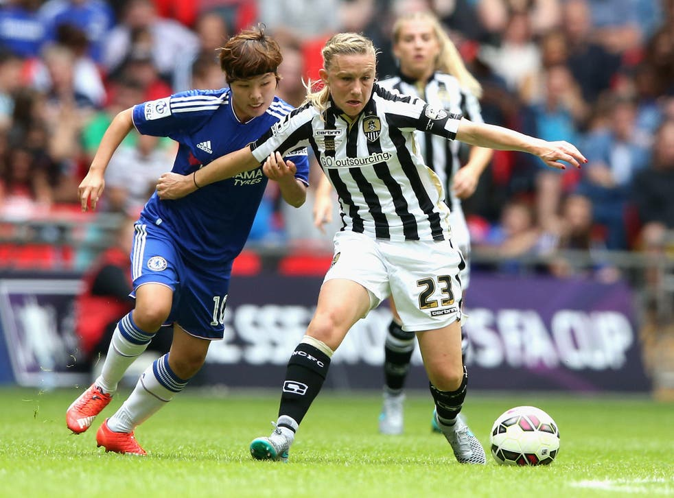 Laura Bassett, right, in action during the Women's FA Cup Final at Wembley in August