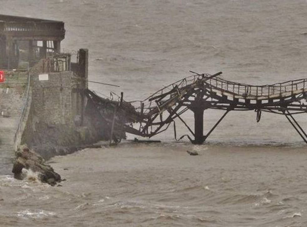 The twisted and broken section of Birnbeck Pier in Weston-super-Mare