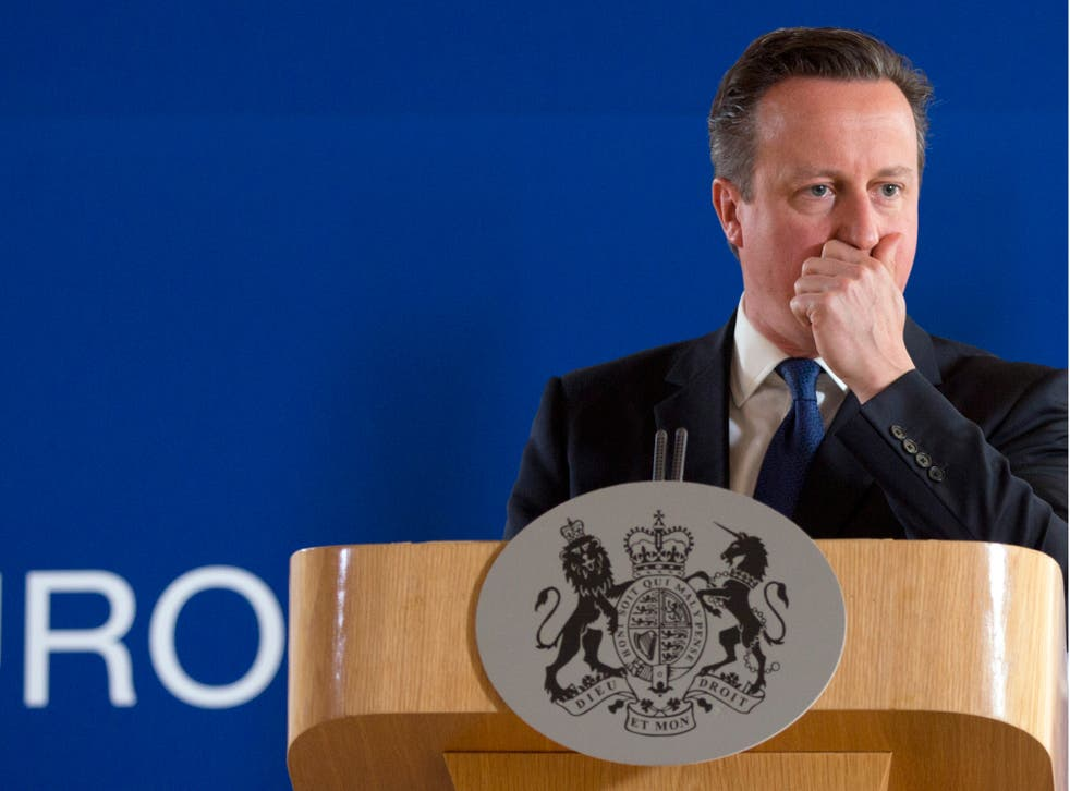 David Cameron during a media conference after an EU summit in Brussels