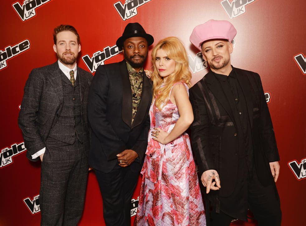 The coaches for the new series of 'The Voice': Ricky Wilson, Will.i.am, Paloma Faith and Boy George