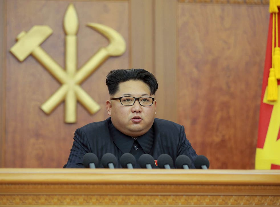 North Korean leader Kim Jong Un gives a New Year's address for 2016 in Pyongyang, in this undated photo released by Kyodo January 1, 2016.