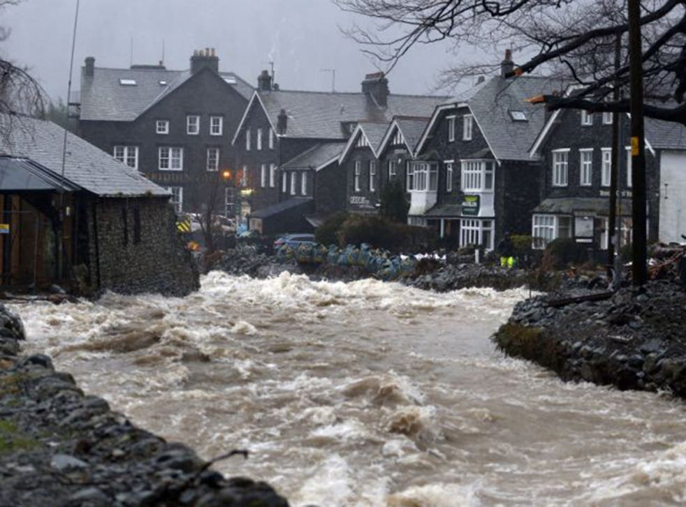 Storm Frank caused these high waters in Glenridding in Cumbria last month