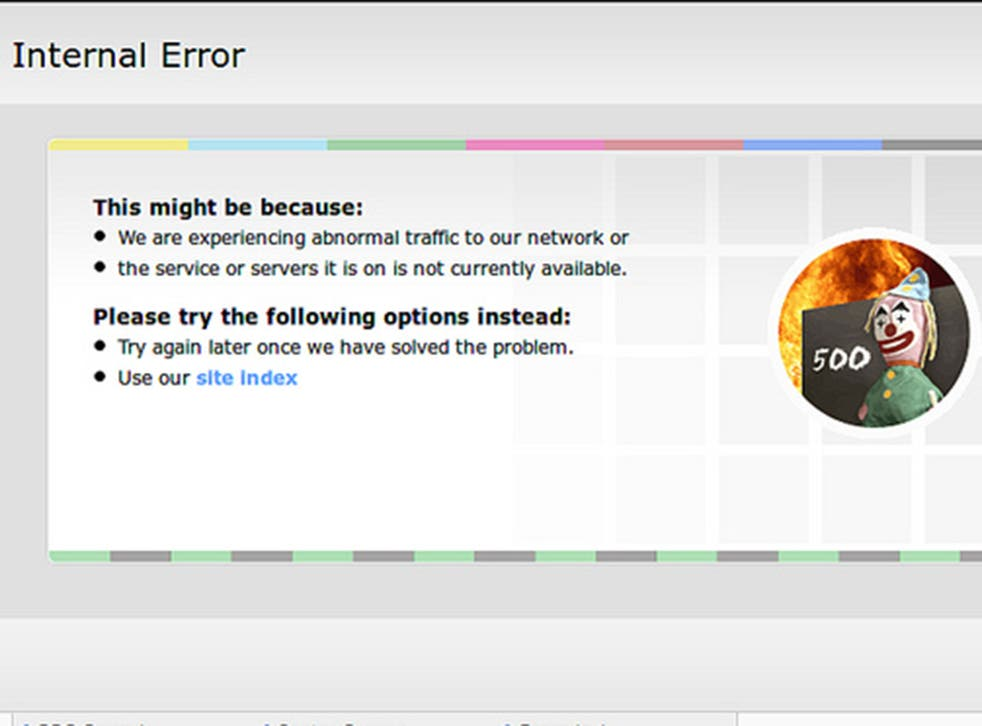This is the error message people trying to access the BBC's websites received on New Year's Eve