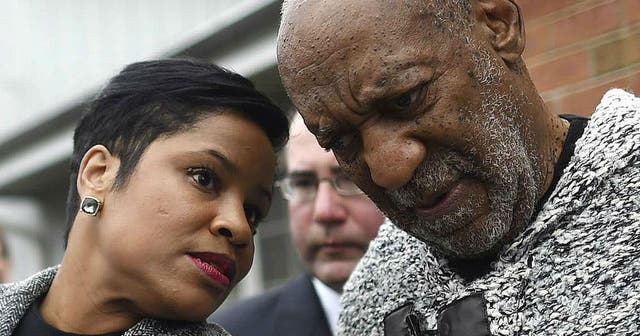 Monique Pressley and Bill Cosby out the Pennsylvania courtroom on Wednesday