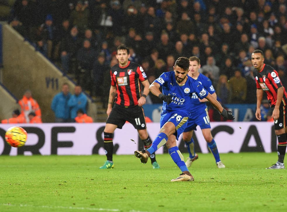 Riyad Mahrez misses from the spot for Leicester against Bournemouth