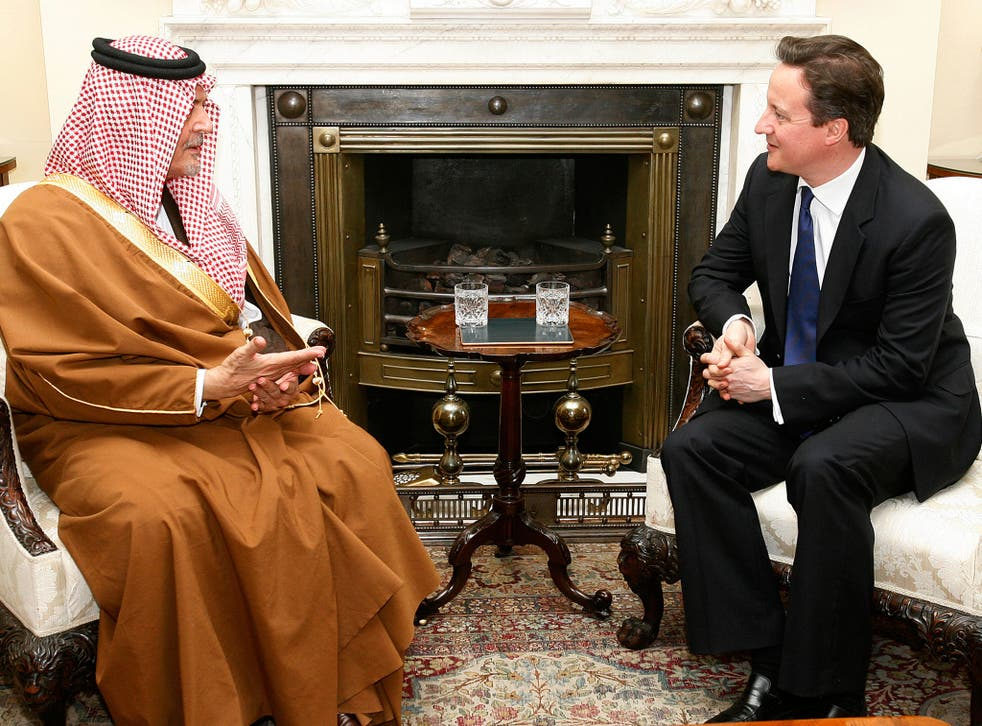Prime Minister David Cameron meets with The Saudi Foreign Minister Prince Saul Al Faisal inside 10 Downing Street