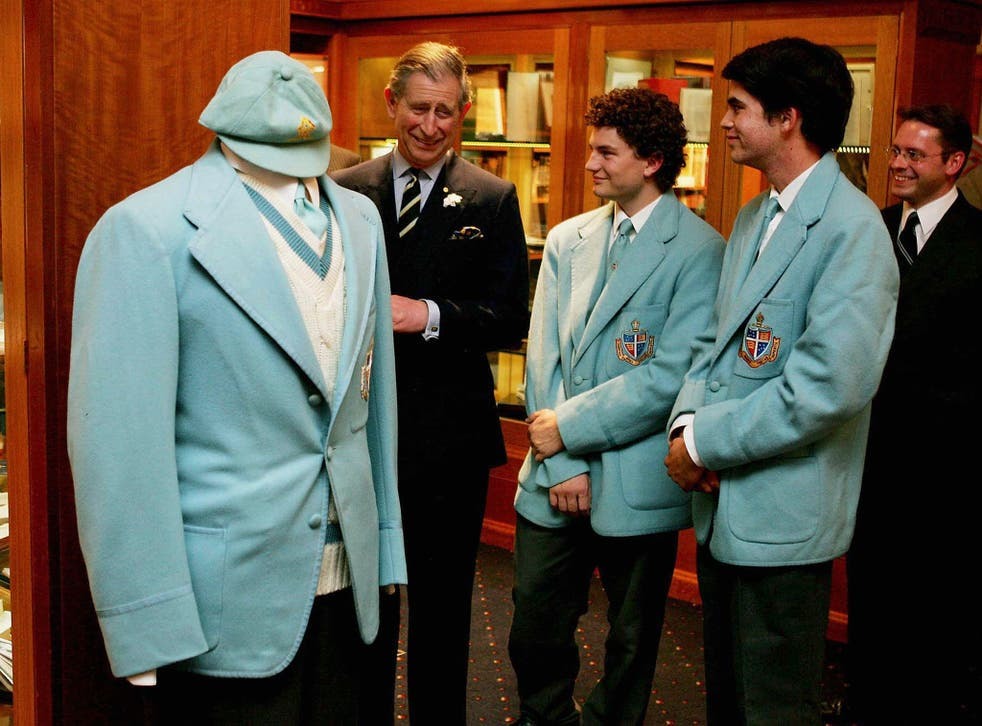 Prince Charles with pupils at Geelong Grammar, which he attended aged 17