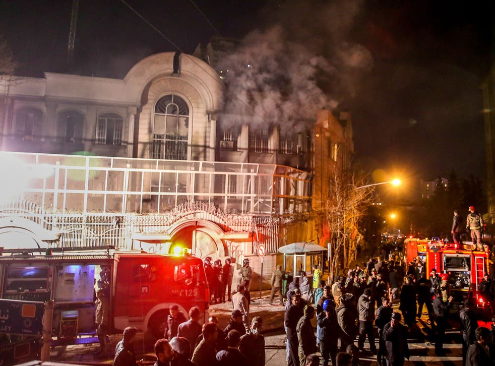 Iranian protesters set fire to the Saudi Embassy in Tehran during a demonstration against the execution of prominent Shiite Muslim cleric Nimr al-Nimr