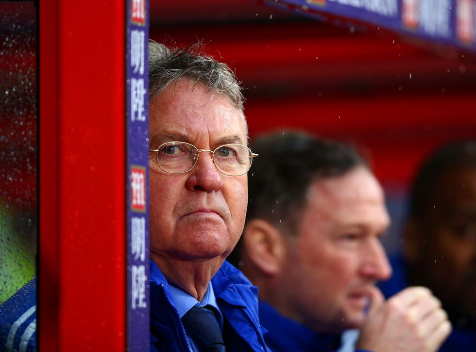 Chelsea manager Guus Hiddink looks on from the touchline