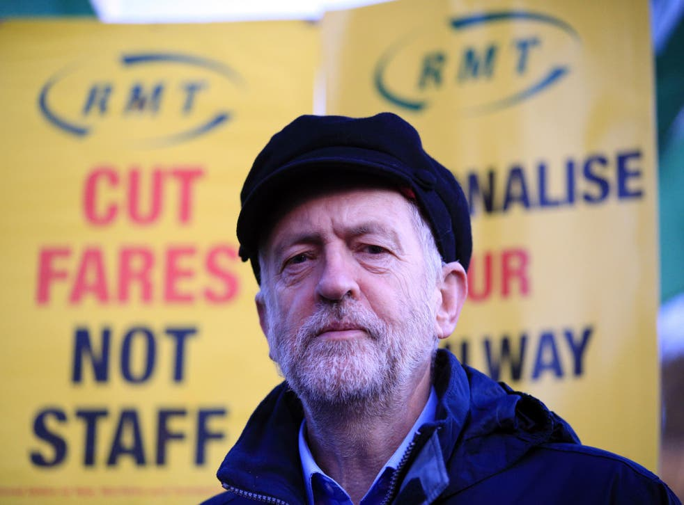 Jeremy Corbyn attends a protest against latest fare rise at King's Cross Station in London on Monday morning