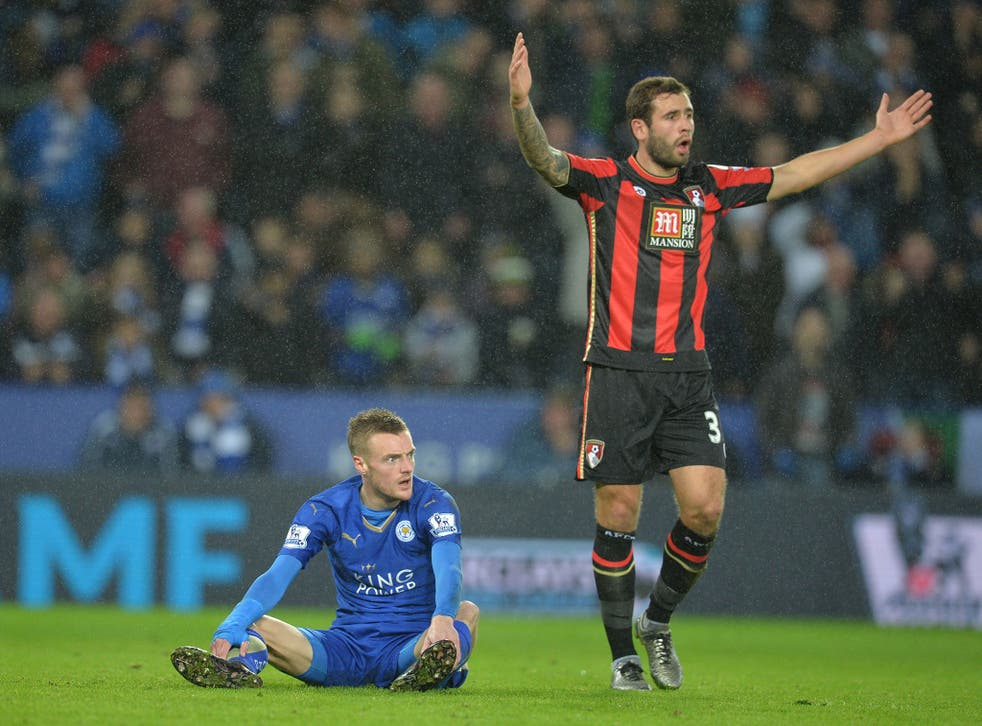 Jamie Vardy in action for Leicester against Bournemouth before minor surgery on his groin