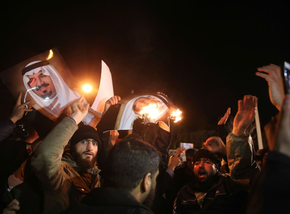 Iranian protesters gather outside the Saudi Embassy in Tehran during a demonstration against the execution of prominent Shiite Muslim cleric Nimr al-Nimr by Saudi authorities.